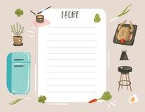 Вручите вычерченному конспекту вектора современный шарж варя templete плановика карточки рецепта иллюстраций студии с едой, овоща бесплатная иллюстрация