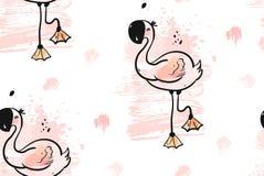 Вручите вычерченному конспекту вектора творческую необыкновенную тропическую милую безшовную картину при розовый изолированный фл Стоковое Фото
