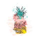 Вручите вычерченному конспекту вектора тропический ананас в пастельных цветах и freehand текстурах изолированный на белой предпос иллюстрация вектора