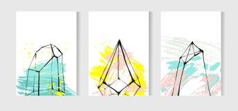 Вручите вычерченному конспекту вектора художническую геометрическую безшовную картину с кристаллическим terrarium и завтрак-обед  Стоковая Фотография RF
