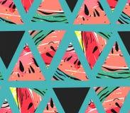 Вручите вычерченному коллажу конспекта вектора безшовную картину с формами битника мотива и треугольника арбуза изолированную на  Стоковые Изображения RF