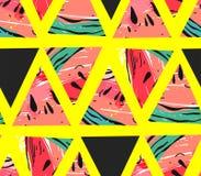 Вручите вычерченному коллажу конспекта вектора безшовную картину с формами битника мотива и треугольника арбуза изолированную на  Стоковое Изображение RF
