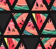 Вручите вычерченному коллажу конспекта вектора безшовную картину с формами битника мотива и треугольника арбуза изолированную на  Стоковые Фото