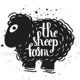 Вручите вычерченному плакату оформления литерности силуэт овцы изолированной на белой предпосылке жизнь сельская Овцы фермы Стоковые Фотографии RF