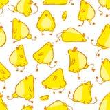 Вручите вычерченному смешному характеру вектора цыпленка младенца безшовную картину Стоковая Фотография RF