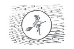 Вручите вычерченному хеллоуину волшебное летание женщины на венике Стоковое Изображение RF