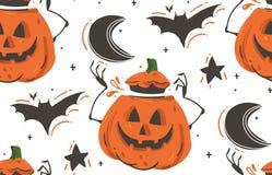 Вручите вычерченному шаржу конспекта вектора счастливые иллюстрации хеллоуина безшовная картина с летучими мышами, тыквами, луной Стоковое фото RF