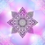 Вручите вычерченную абстрактную картину мандалы на backg пастельного пинка запачканном Стоковые Фото