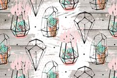 Вручите вычерченную абстрактную текстурированную иллюстрацию с суккулентными заводами в точках картины и польки terrariums изолир Стоковое Фото