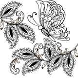 Вручите вычерченную бабочку и декоративные листья взрослые анти- страницы расцветки стресса, печать футболки Boho, дизайн татуиро иллюстрация штока