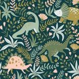 Вручите вычерченную безшовную картину с динозаврами и тропическими листьями и цветками также вектор иллюстрации притяжки corel иллюстрация вектора
