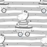 Вручите вычерченную безшовную картину с милой зеброй в трейлере Печать картины для детей Стоковые Изображения RF