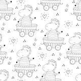 Вручите вычерченную безшовную картину с милой зеброй в трейлере Печать картины для детей Стоковое Фото