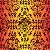 Вручите вычерченную безшовную картину с племенной маской этнической Эскиз для вашего дизайна, wallaper, ткань, печать вектор изоб иллюстрация вектора