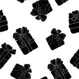 Вручите вычерченную безшовную картину с подарками плана с смычками в стиле шаржа Doodle тонкая линия текстура подарочной коробки  Стоковое фото RF