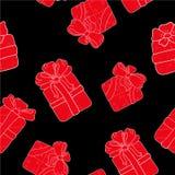 Вручите вычерченную безшовную картину с подарками плана с смычками в стиле шаржа Doodle тонкая линия текстура подарочной коробки  Стоковая Фотография