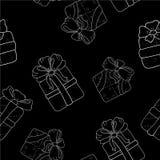 Вручите вычерченную безшовную картину с подарками плана с смычками в стиле шаржа Doodle тонкая линия текстура подарочной коробки  Стоковые Изображения RF