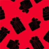 Вручите вычерченную безшовную картину с подарками плана с смычками в стиле шаржа Doodle тонкая линия текстура подарочной коробки  Стоковое Изображение RF
