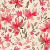 Вручите вычерченную безшовную картину с цветками акварели свободными Стоковое Изображение