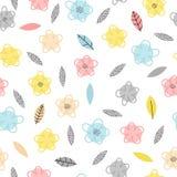 Вручите вычерченную безшовную картину с цветками и листьями вектор иллюстрации предпосылки милый флористический Ультрамодный твор стоковое фото