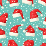 Вручите вычерченную безшовную картину с шляпами и снегом рождества Стоковая Фотография