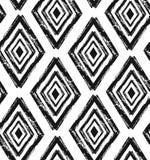 Вручите вычерченную безшовную картину форм диаманта в черноте и сливк Современная ткань, искусство стены, упаковочная бумага, обо бесплатная иллюстрация