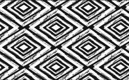 Вручите вычерченную безшовную племенную картину в черноте и сливк Современная ткань, искусство стены, упаковочная бумага, дизайн  бесплатная иллюстрация