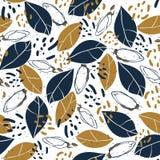 Вручите вычерченную ботаническую безшовную картину с листьями, бутонами и пятнами Винтажная предпосылка вектора для печати, ткани Стоковое Фото