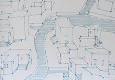 Вручите вычерченную городскую ситуацию с рекой внутри пропускать Стоковые Изображения