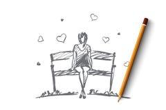 Вручите вычерченную девушку в влюбленности сидя на стенде Стоковое Изображение RF