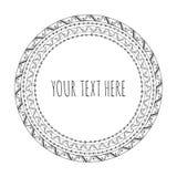 Вручите вычерченную декоративную круглую рамку, племенную, boho Стоковое Изображение