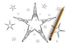Вручите вычерченную звезду сформированную путем лежа руки людей Стоковые Изображения RF