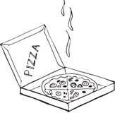 Вручите вычерченную изолированную пиццу на коробке на белой предпосылке Стоковая Фотография RF
