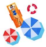 Вручите вычерченную иллюстрацию акварели с женщиной на шезлонге и парасолях на белой предпосылке Стоковые Изображения RF