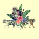 Вручите вычерченную иллюстрацию акварели с тиграми, листьями, цветками Стоковое Изображение RF