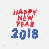 Вручите вычерченную иллюстрацию вектора счастливой литерности 2018 Нового Года Стоковое Изображение