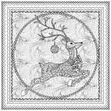 Вручите вычерченную иллюстрацию вектора скача силуэта оленей с декоративным орнаментом, с Рождеством Христовым рождественской отк Стоковое фото RF