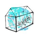 Вручите вычерченную иллюстрацию коллажа конспекта вектора с графическим завтрак-обедом terrarium или аквариума и евкалипта в tiff иллюстрация штока