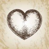 Вручите вычерченную иллюстрацию дня валентинки вектора - полюбите эскиз сердца стоковая фотография rf
