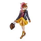 Вручите вычерченную иллюстрацию одеванной девушки тигра битника иллюстрация вектора