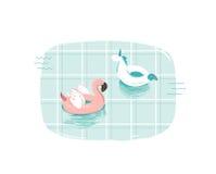 Вручите вычерченную иллюстрацию потехи временени шаржа конспекта вектора с розовым кольцом томбуя фламинго и единорога в сини Стоковые Фото