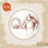 Вручите вычерченную иллюстрацию хлебопека делая свежий хлеб в каменной печи иллюстрация вектора