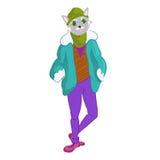 Вручите вычерченную иллюстрацию человека кота в модном стиле Стоковая Фотография