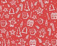 Вручите вычерченную картину рождества и Нового Года безшовную на зимние отдыхи Симпатичная предпосылка с элементами зимы: печенье Стоковое Изображение