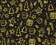 Вручите вычерченную картину рождества и Нового Года безшовную на зимние отдыхи Симпатичная предпосылка с элементами зимы: печенье Стоковые Фотографии RF
