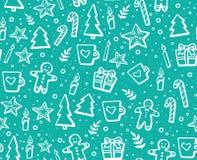Вручите вычерченную картину рождества и Нового Года безшовную на зимние отдыхи Симпатичная предпосылка с элементами зимы: печенье Стоковое Фото