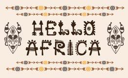 Вручите вычерченную картину с племенной маской этнической и письмами Эскиз для вашего дизайна, wallaper, ткань, печать afoul иллюстрация вектора