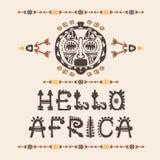 Вручите вычерченную картину с племенной маской этнической и письмами Эскиз для вашего дизайна, wallaper, ткань, печать afoul бесплатная иллюстрация