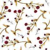 Вручите вычерченную картину с элементами цветков и трав винтажными флористическими иллюстрация вектора