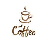 Вручите вычерченную карточку литерности с кофейной чашкой коричневого цвета акварели на белой предпосылке Стоковое фото RF
